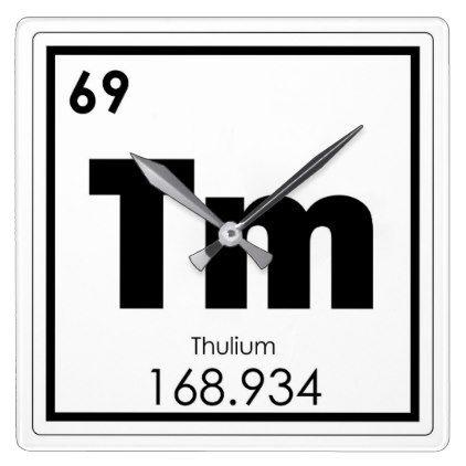 Thulium Chemical Element Symbol Chemistry Formula Square Wall Clock