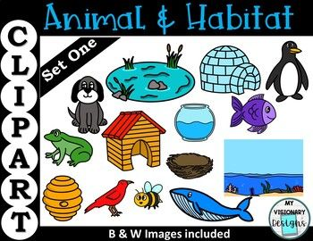 This Animal And Habitat Clipart Set One Contains 7images In Color And 7 Images In Black And White 14 Total The Set Is Perf Animal Habitats Clip Art Habitats