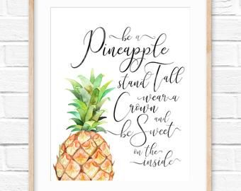 Be A Pineapple Pineapple Print Pineapple Quote Wear A Crown Etsy In 2020 Pineapple Wall Art Gold Pineapple Print Pineapple Decor