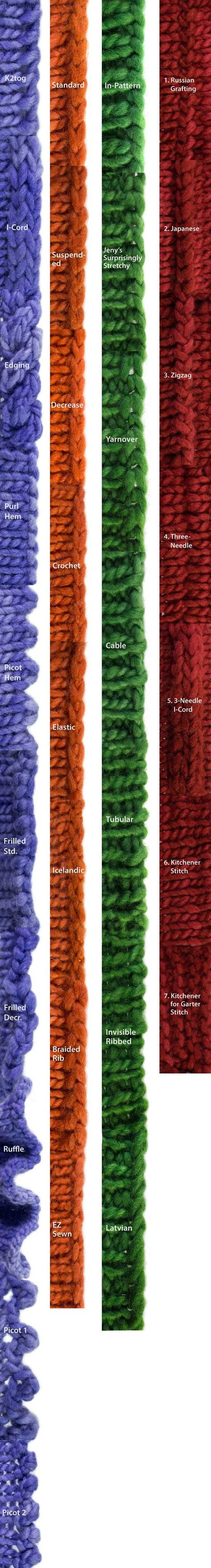 What All The Bind-Offs Look Like: A Bind-Off Extravaganza  http://knitfreedom.com/bind-offs/what-all-the-bind-offs-look-like