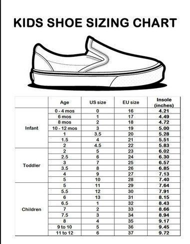 Size Listed Are Junior Women Sizes If Interested In These In Kids Please Review The Kids Shoe C Shoe Size Chart Kids Baby Shoe Size Chart Baby Shoe Sizes
