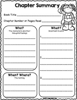 We Are Super Readers Chapter Summary Worksheets And Graphic Organizers Chapter Summary 2nd Grade Chapter Books Reading Summary