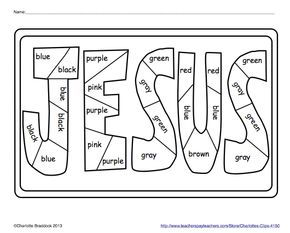 Free Color Word Practice Printables | easter | Sunday school