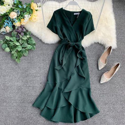 Lucuna Short-Sleeve Tie-Waist Ruffle Hem Midi Dress | YesStyle Women's Dresses, Dress Outfits, Dresses For Less, Fashion Dresses, Wrap Dresses, Casual Dresses, Bandage Dresses, Chiffon Dresses, Long Dresses