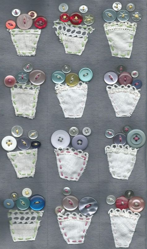 5 Fabric Scrap Projects to Shrink Your Stash - Cloth Paper Scissors - vintage button bouquet vases You are in the right place about arts and crafts Here we offer you the - Scrap Fabric Projects, Fabric Scraps, Sewing Projects, Button Bouquet, Button Flowers, Crafts To Sell, Easy Crafts, Crafts For Kids, Button Art