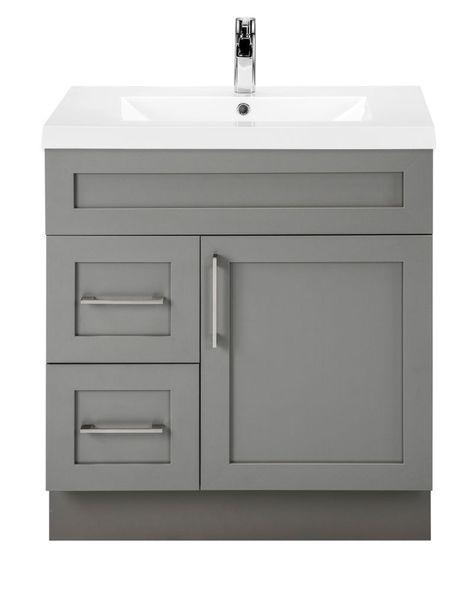 Fossil 30 Inch W 2 Drawer 1 Door Freestanding Vanity In Grey With