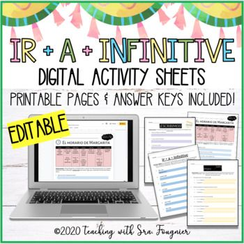 Editable Spanish Ir A Infinitive Activity Worksheets Packet Distance Learning Distance Learning Teacher Help Digital Activities
