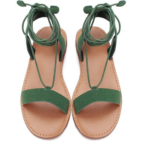 56052de3f2e4 Yoins Green Strappy Lace-up Flat Street Style Sandals (17.890 CLP) ❤ liked