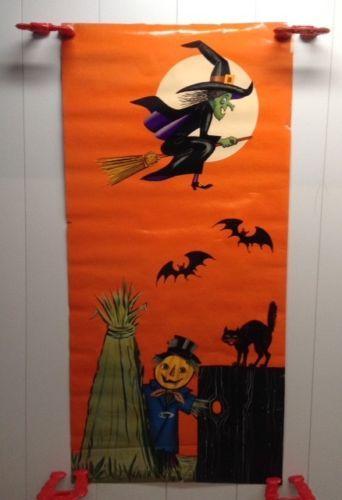 Scarce 1950 60 039 S Halloween Door Decoration Poster Witch Scarecrow Bats Black Cat Halloween Door Decorations Halloween Door Door Decorations