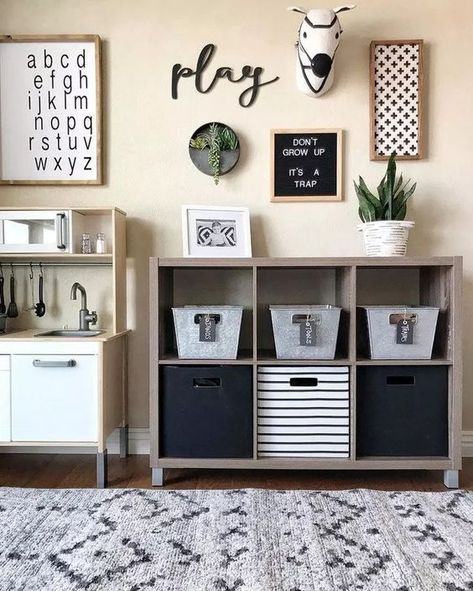 It is most definitely a trap, kids. Isn't this farmhouse playroom from adorable? Loft Playroom, Toddler Playroom, Playroom Organization, Playroom Design, Playroom Decor, Bedroom Decor, Organization Ideas, Boys Playroom Ideas, Toddler Boy Room Ideas