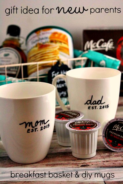 Breakfast basket idea diy mom dad mugs for new parents breakfast basket idea diy mom dad mugs for new parents mccafemyway ad diy gifts pinterest basket ideas dads and parents negle Image collections