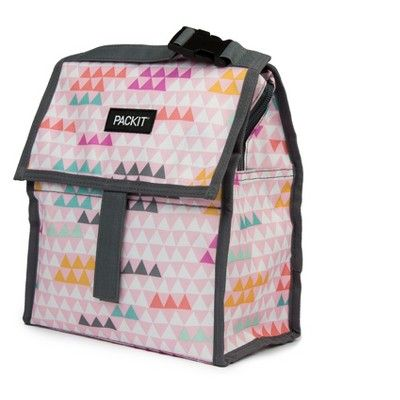 Packit Freezable Lunch Bag Pink Triangles Sack Lunch Pink