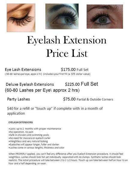 Eyelash Extension Price List Eye Lash Extensions 175 00