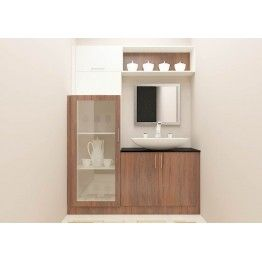 Crockery Unit With Attached Wash Basin Unit Mirror Racks And