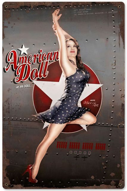 American Doll WWII Pin Up Nose Art Sign 12 x History never looked so good! You World War II buffs will love the Retro American Doll Bomber Pinup Sign, a reproduction that celebrates combat aircraft nose art.