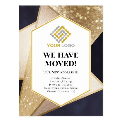 We Have Moved Business Geometric Moving Postcard Zazzle Com Business Postcards Moving Announcements Postcard Design