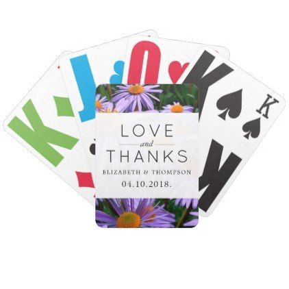 Thank You Aster Flowers Blossoms Purple Bicycle Playing Cards Purple Floral Style Gifts Flower Flowers Diy Cus Aster Flower Wedding Favors Purple Bicycle
