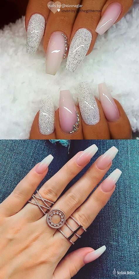 Repost White With Glitter Ombre And French Fade On Coffin Nails Nail Design Ideas Pink Nails Coffin Nails Designs Nail Designs