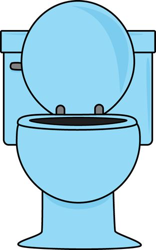 Blue Toilet With The Lid Up Clip Art
