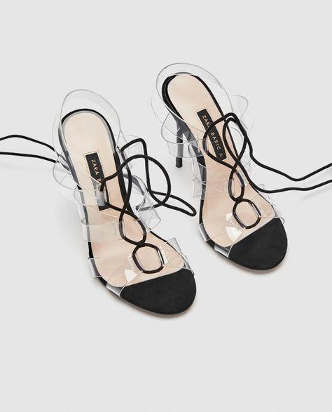 Vinyl High Heel Sandals With Ties Zara Macedonia Sandals Heels High Heel Sandals High Heels