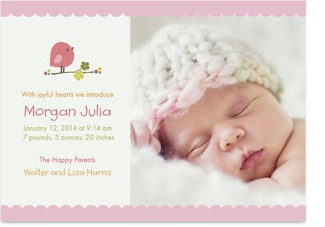 Pink Baby Bird – Sample Baby Announcement