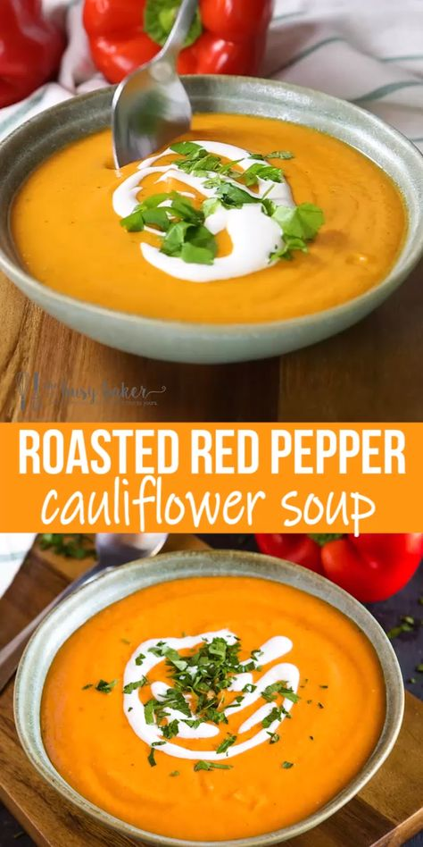 This Roasted Red Pepper Cauliflower Soup is a simple, 2-step recipe that's packed with freshly roasted red peppers and cauliflower! It's healthy, vegan, and can be made from scratch in under an hour!