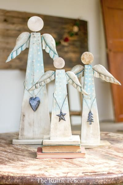 Rustic Wooden Angels Rustic Holiday Decor Home Decor Wood Angel
