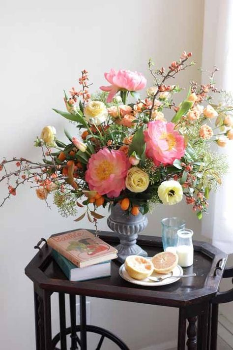 Home Decor On A Budget peach peonies arrangement.Home Decor On A Budget peach peonies arrangement Peony Arrangement, Beautiful Flower Arrangements, Silk Flower Arrangements, Flower Vases, Flowers In A Vase, Creative Flower Arrangements, Clay Flowers, Flowers Garden, Faux Flowers