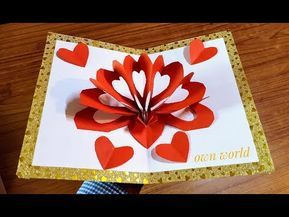 Diy 3d Heart Pop Up Card Valentine Pop Up Card Youtube Pop Up Valentine Cards Pop Up Card Templates Valentines Cards
