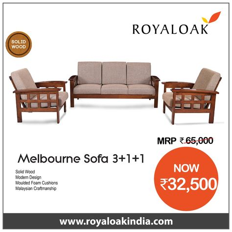 Pleasant Royaloak Melborne 3 1 1 Solidwood Sofa Set Brown Sofa Set Cjindustries Chair Design For Home Cjindustriesco
