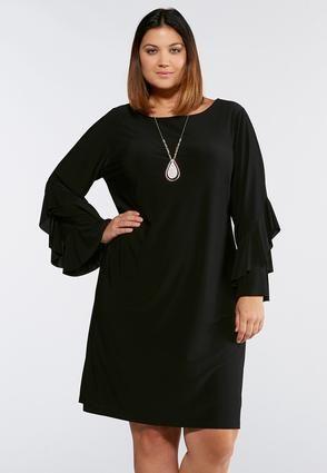 Cato Fashions Plus Size Ruffled Sleeve Sheath Dress ...