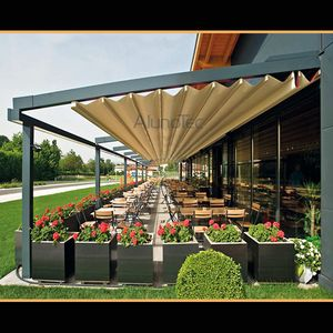 Outdoor Wind Resistance Waterproof Aluminium Pvc Retractable Awning Roof With Led Buy Pvc Pergola Retractable Pergola Aluminum Pergola Pergola Modern Gazebo