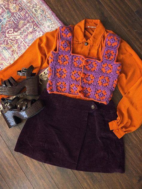 70s Inspired Fashion, 70s Fashion, Look Fashion, Fashion Outfits, Quirky Fashion, Thrift Fashion, Knit Fashion, Indie Outfits, Retro Outfits