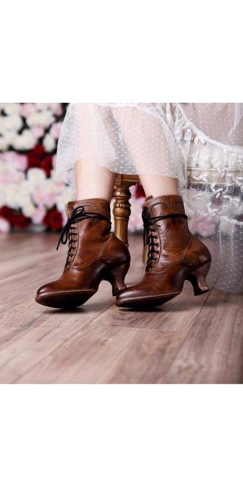 b13c1674afa Victorian Inspired Ankle Boots in Tan Rustic. More Details · Shoes Sneakers