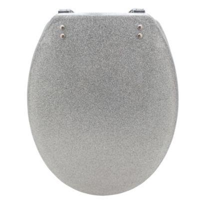 Cooke Lewis Silver Glitter Polyresin Toilet Seat