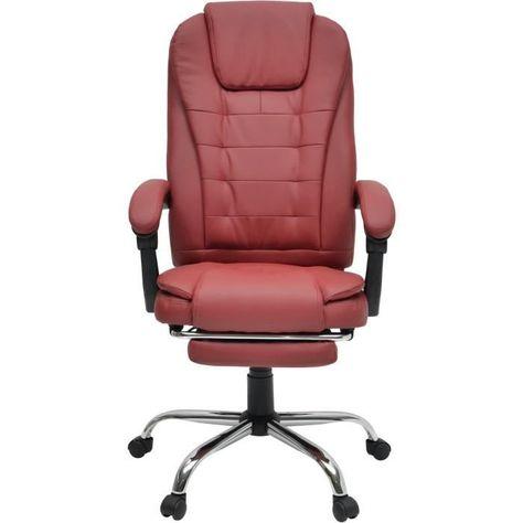 Mack Chaise De Bureau Simili Rouge Bordeaux Style Industriel
