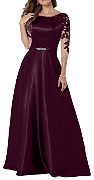 Dingzan Woman S Satin Mother Of The Bride Dresses With Applique Half Sleeves 2 Grape Amazon Ca Clothing Acces Dresses Mother Of The Bride Dresses Lace Gown