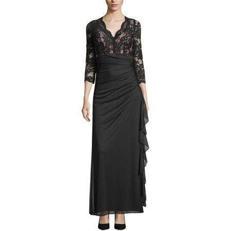 Betsy /& Adam Womens Ruffled Lace Formal Dress