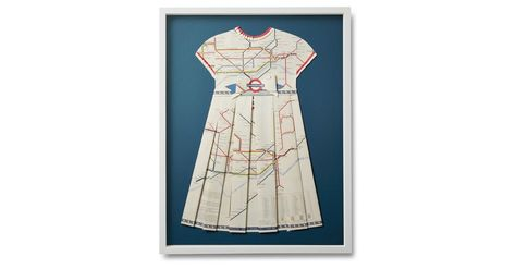 To create this original folded-paper collage, artist Dawn Wolfe repurposed a beautifully colored map of the London Underground, carefully assembling hand-cut forms into the shape of a pleated...