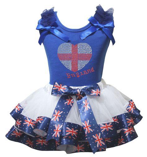 Petitebella British Heart Blue Stars Shirt RWB Petal Skirt Outfit Nb-8y