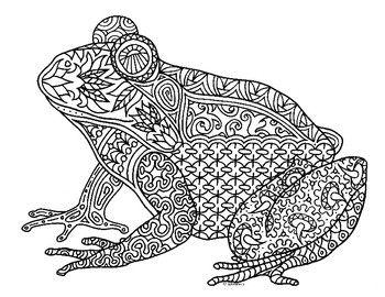Frog Adult Colouring Page Colouring In Sheets Art Craft Art Supplies Adult Coloring Pages Adult Coloring Book Pages Frog Coloring Pages