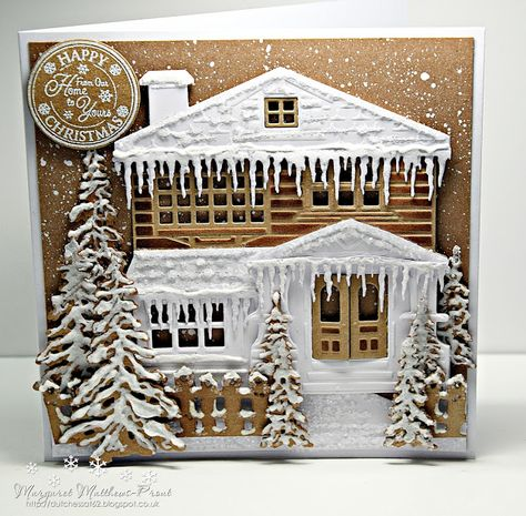 my card this week was inspired by the photo I took of our porch ...such beautiful icicles so this is my card the house die is on...