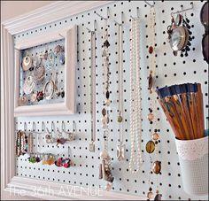 Framed Pegboard Jewelry Display In Retail Diy Peg Board Jewellery Storage Getting Organized