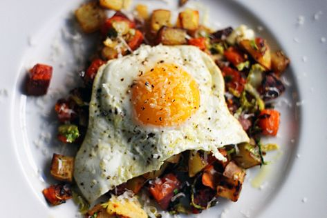 Sweet Potato and Brussels Sprout Hash.
