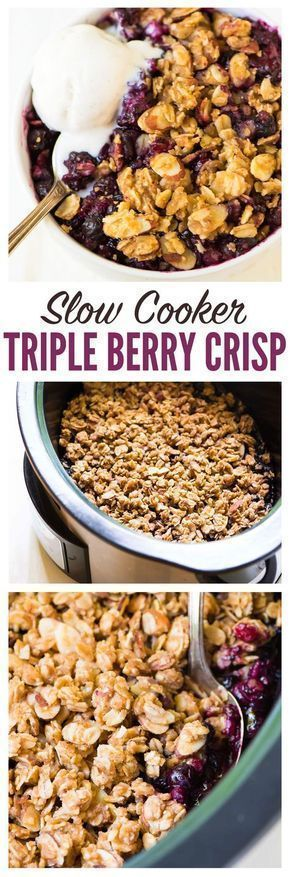 Slow Cooker Triple Berry Crisp – use fresh or frozen berries so you can enjoy summer fruit year round! Made with maple syrup and whole grains, this healthy fruit crisp cooks right in the crock pot and can be made gluten free or vegan. Enjoy it for dessert with whipped cream or for breakfast with yogurt. Recipe at wellplated.com | @wellplated #memorialday #berrycrisp #berryseason #recipe #crockpot #dessert