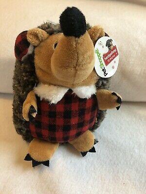 Hedge Hog Dog Toy Plaid Buffalo Check Fluffy Pet Holiday Christmas