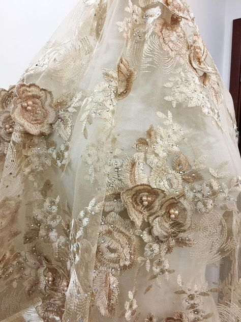 3D Rhinestone and Pearl Beaded Flower Applique Lace Fabric in Gold for  Haute Couture 431e39c45ecf