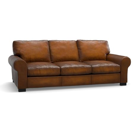Turner Roll Arm Leather Sleeper Sofa Down Blend Wrapped Cushions