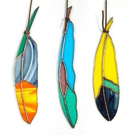 Stained Glass Feather Suncatcher Copper Penny