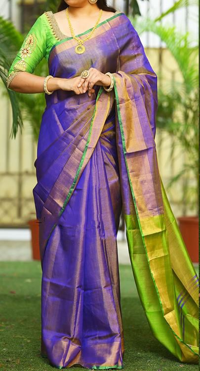 0b9538324 Blue and Green Tissue Silk Uppada Handloom Saree#Uppada#Silk#Blue#Green#Handloom  saree#online#shopping